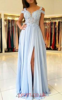 Sky Blue Lace Tulle Off The Shoulder Short Sleeve A-line Long Celebrity Dress(JT3781)