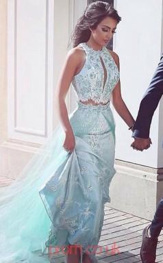 Light Blue Tulle Lace Sheath/Column Halter Watteau Train Two Piece Prom Dress(JT3810)