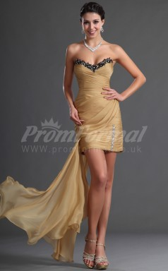 Gold Chiffon Sheath Sweetheart Short/Mini Cocktail Dresses(PRJT04-0395)