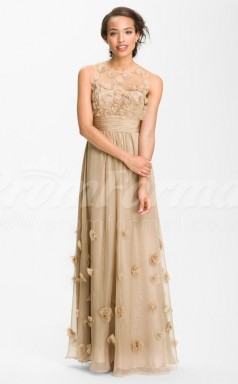 Champagne Organza A-line Jewel Long Cocktail Dresses(PRJT04-0496)