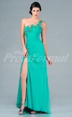 Turquoise Chiffon Sheath One Shoulder Split Front Long Cocktail Dresses(PRJT04-0499)
