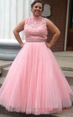 A-line Pearl Pink Stretch Satin High Neck Sleeveless Floor-length Plus Size Dress(PLJT8005)