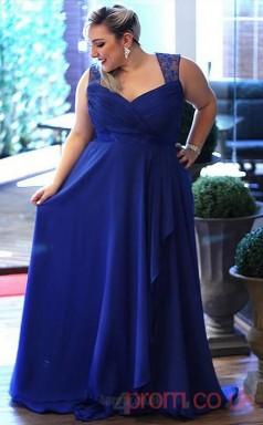 A-line Light Royal Blue Lace,Tulle Straps Sleeveless Floor-length Plus Size Dress(PLJT8006)