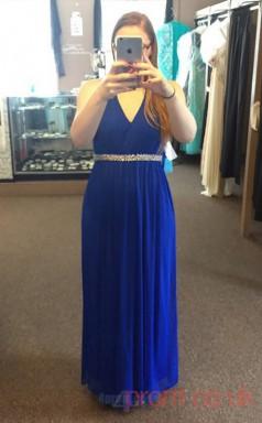 A-line Light Royal Blue Chiffon V-neck Sleeveless Floor-length Plus Size Dress(PLJT8010)