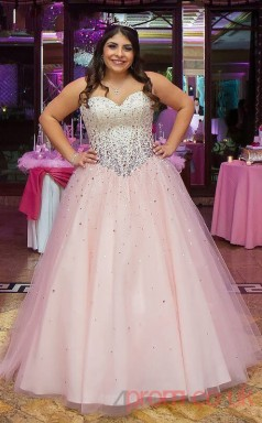A-line Blushing Pink Chiffon Sweetheart Sleeveless Floor-length Plus Size Dress(PLJT8013)