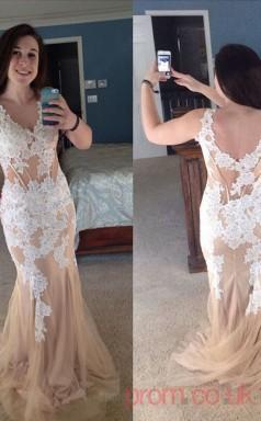 Trumpet/Mermaid Champagne Lace V-neck Sleeveless Floor-length Plus Size Dress(PLJT8015)