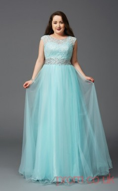 A-line Midium Turquoise Chiffon Scoop Short Sleeve Floor-length Plus Size Dress(PLJT8020)