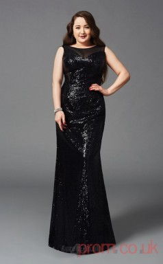 Trumpet/Mermaid Black Lace,Tulle Bateau Sleeveless Floor-length Plus Size Dress(PLJT8028)