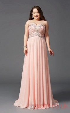 A-line Pearl Pink Tulle Sweetheart Sleeveless Floor-length Plus Size Dress(PLJT8031)