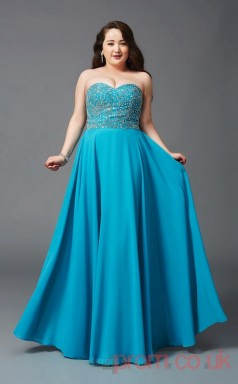 A-line Turquoise Chiffon Sweetheart Sleeveless Floor-length Plus Size Dress(PLJT8032)