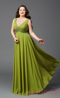 A-line Olive Drab Chiffon V-neck Sleeveless Floor-length Plus Size Dress(PLJT8036)