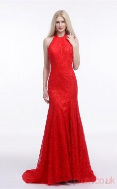 Red Lace Trumpet/Mermaid Halter Sleeveless Evening Dresses(JT4-LFDZC009)