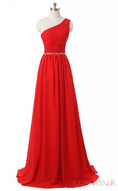Red Chiffon A-line One Shoulder Sleeveless Evening Dresses(JT4-LFDZC110)