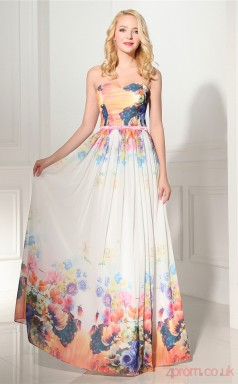 Print Taffeta Chiffon A-line Sweetheart Sleeveless Evening Dresses(JT4-LLLFC01)