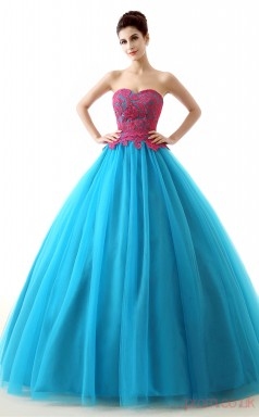 Pool Lace Tulle Ball Gown Sweetheart Sleeveless Prom Ball Gowns(JT4-PPQL0025)