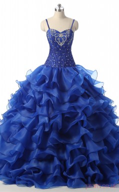 Blue Satin Organza Ball Gown Straps Sleeveless Prom Ball Gowns(JT4-PPQDZ103)