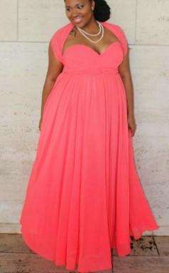 Watermelon Chiffon A-line Sweetheart Short Sleeve Floor-length Plus Size Prom Dress(PRPSD04-094)