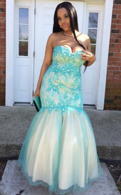 Turquoise Lace Tulle Trumpet/Mermaid Sweetheart Sleeveless Floor-length Plus Size Prom Dress(PRPSD04-095)