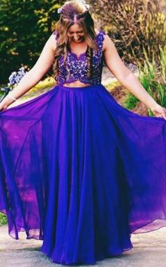 Blue 30D Chiffon Lace A-line V-neck Sleeveless Floor-length Plus Size Prom Dress(PRPSD04-099)