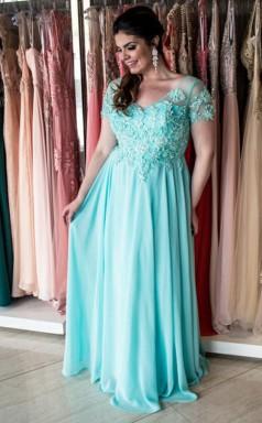 Cyan Chiffon A-line V-neck Short Sleeve Floor-length Plus Size Prom Dress(PRPSD04-106)