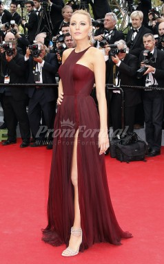 Palais des Festivals Blake Lively Sexy 30D Chiffon Burgundy Celebrity Dress Cannes Film Festival(PROSCD04-828)