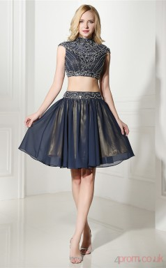 Navy Blue Chiffon Sequined A-line Halter Sleeveless Two Piece Prom Dresses(JT4-06417)