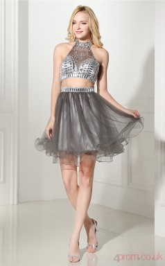 Dim Grey Tulle Taffeta A-line Halter Sleeveless Two Piece Prom Dresses(JT4-06418)