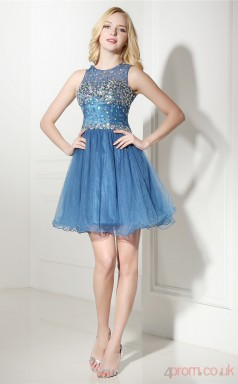 Blue Tulle Sequined A-line Jewel Sleeveless Cocktail Dress(JT4-06419)
