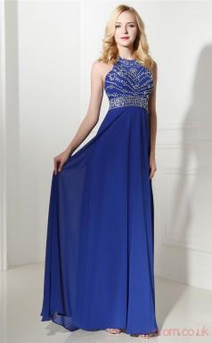 Royal Blue Chiffon A-line Straps Sleeveless Prom Dresses(JT4-0643)