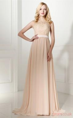 Champange Taffeta Lace Chiffon A-line Bateau Short Sleeve Evening Dresses(JT4-0647)