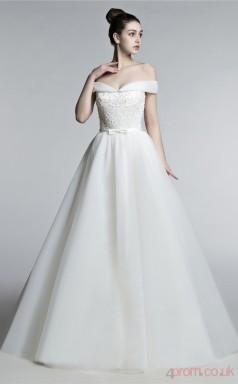 Ivory Tulle A-line Off The Shoulder Short Sleeve Prom Dresses(JT4-3005)