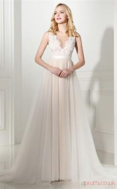 Ivory Lace Chiffon Taffeta A-line Scalloped V-neck Sleeveless Evening Dresses(JT4-06410)