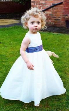 Baby Girls Round Neck White Satin Flower Girl Dress BCH001