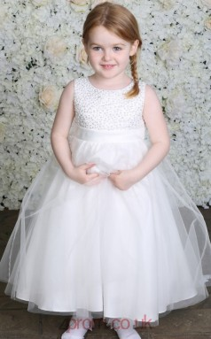 Baby Girls Round Neck Sequin and Bead Holy Communion Dress BCH002