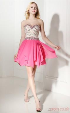 Peach Chiffon Sequined A-line Sweetheart Sleeveless Cocktail Dress(JT4-06420)