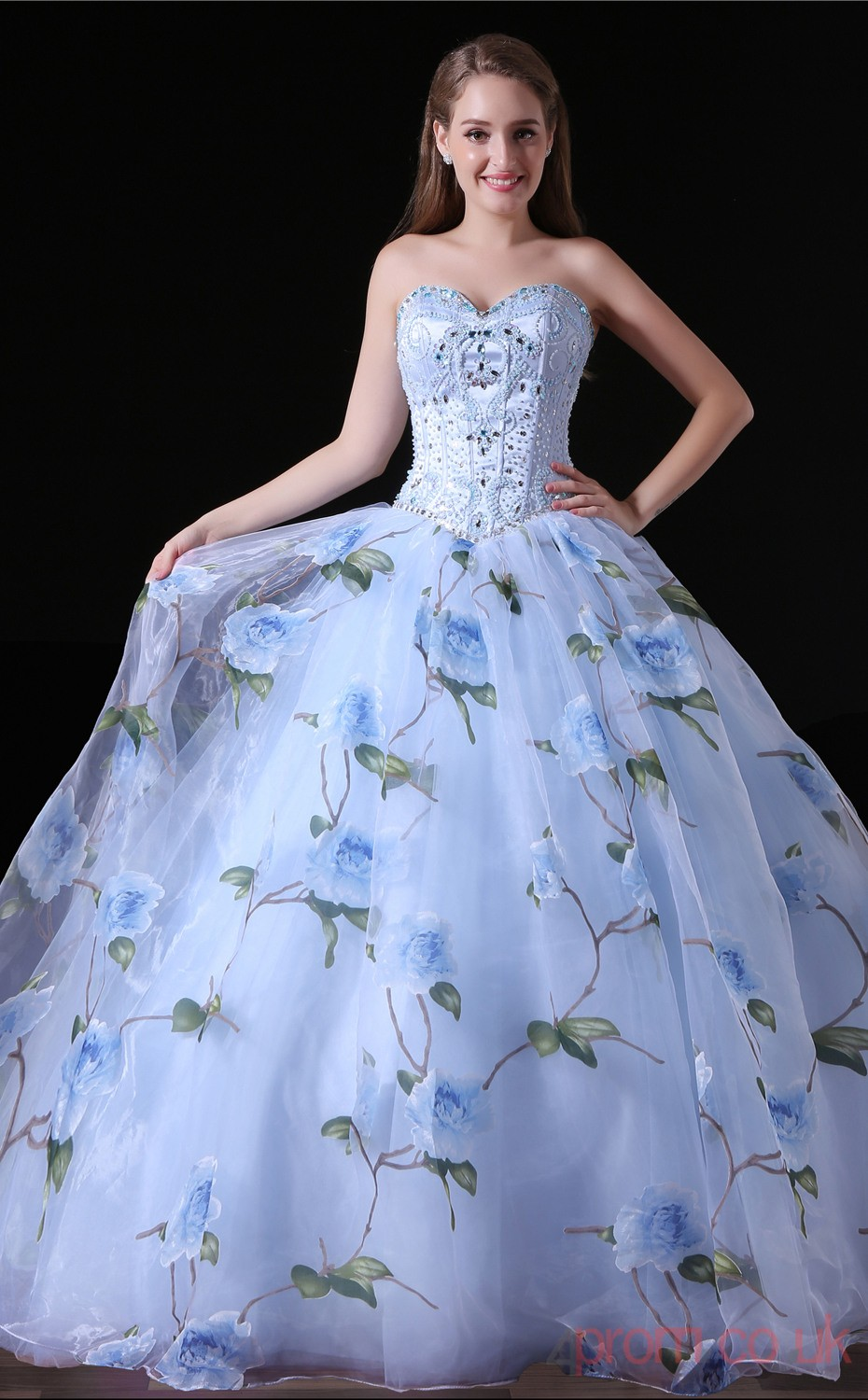 Ball Gown Sweetheart Sleeveless Light Blue Lace Tulle