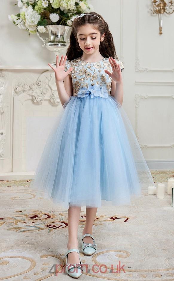 Princess Jewel Short Sleeve Light Blue Tulle Lace Tea,length