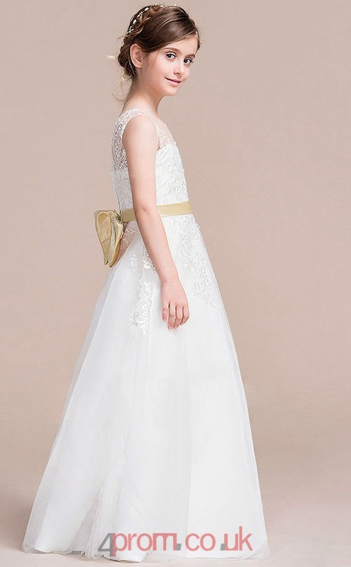 94f9a0a87a4 A-line Illusion Sleeveless White Lace Tulle Floor-length Children s Prom  Dress(AHC061) - 4prom.co.uk