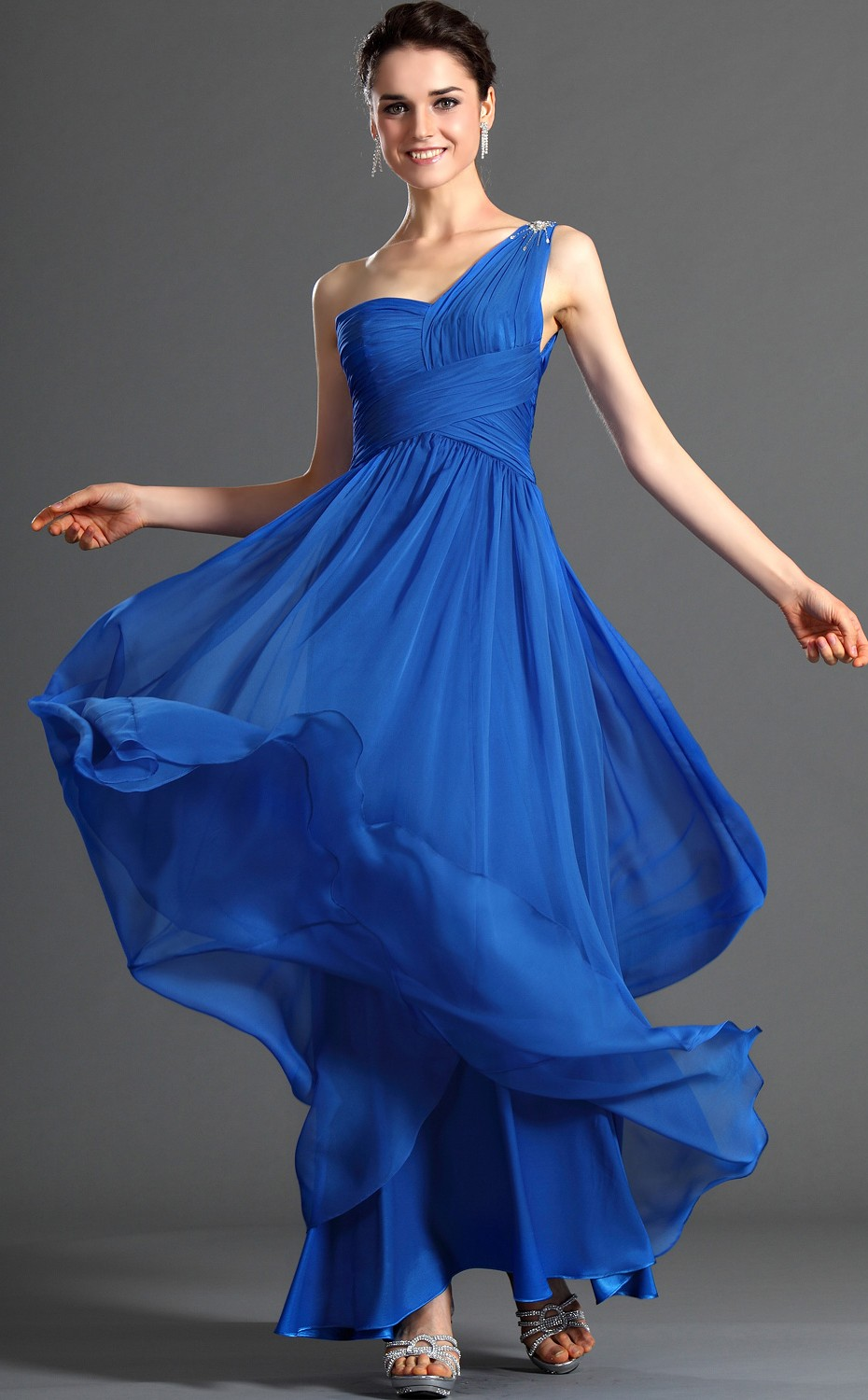 Beautiful Chiffon Bridesmaid Dress Accented with Lace Cap