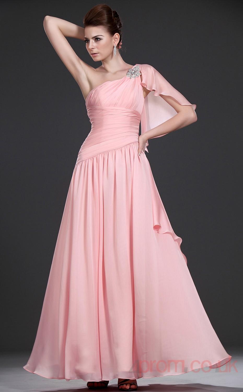 Pink 100D Chiffon A-line One Shoulder Floor-length Prom Dress(BD04 ...