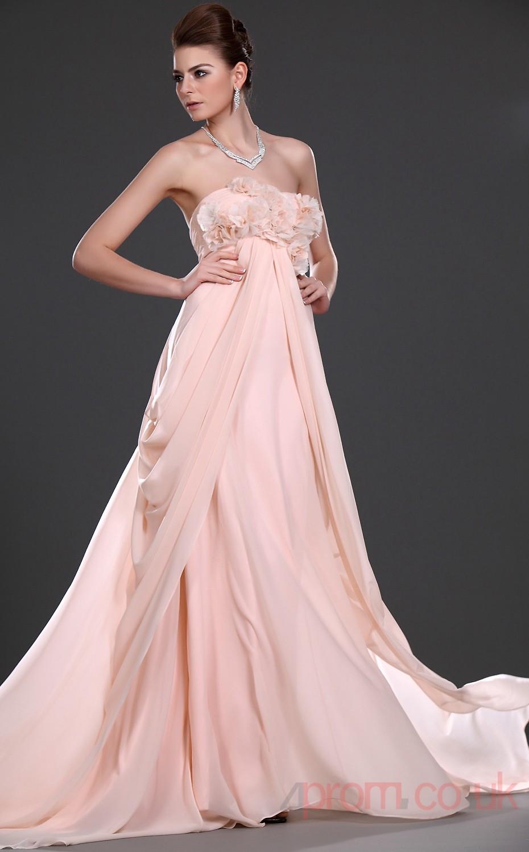 Pink 100D Chiffon A-line Strapless Floor-length Prom Dress(BD04-529 ...