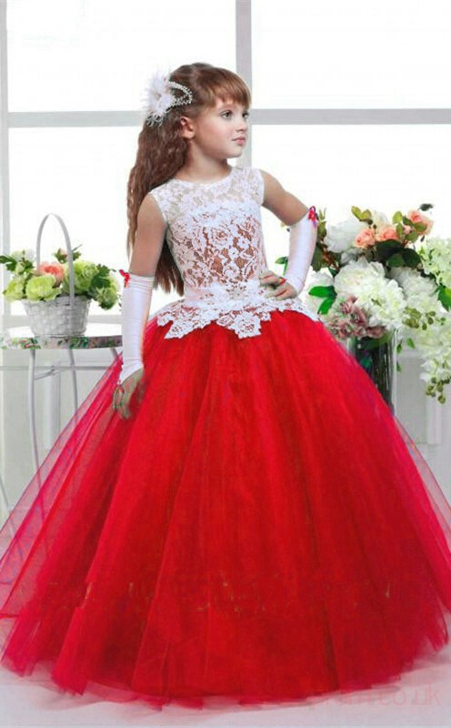 Ball Gown Illusion Red Kids Girls Dress CH0159 - 4prom.co.uk