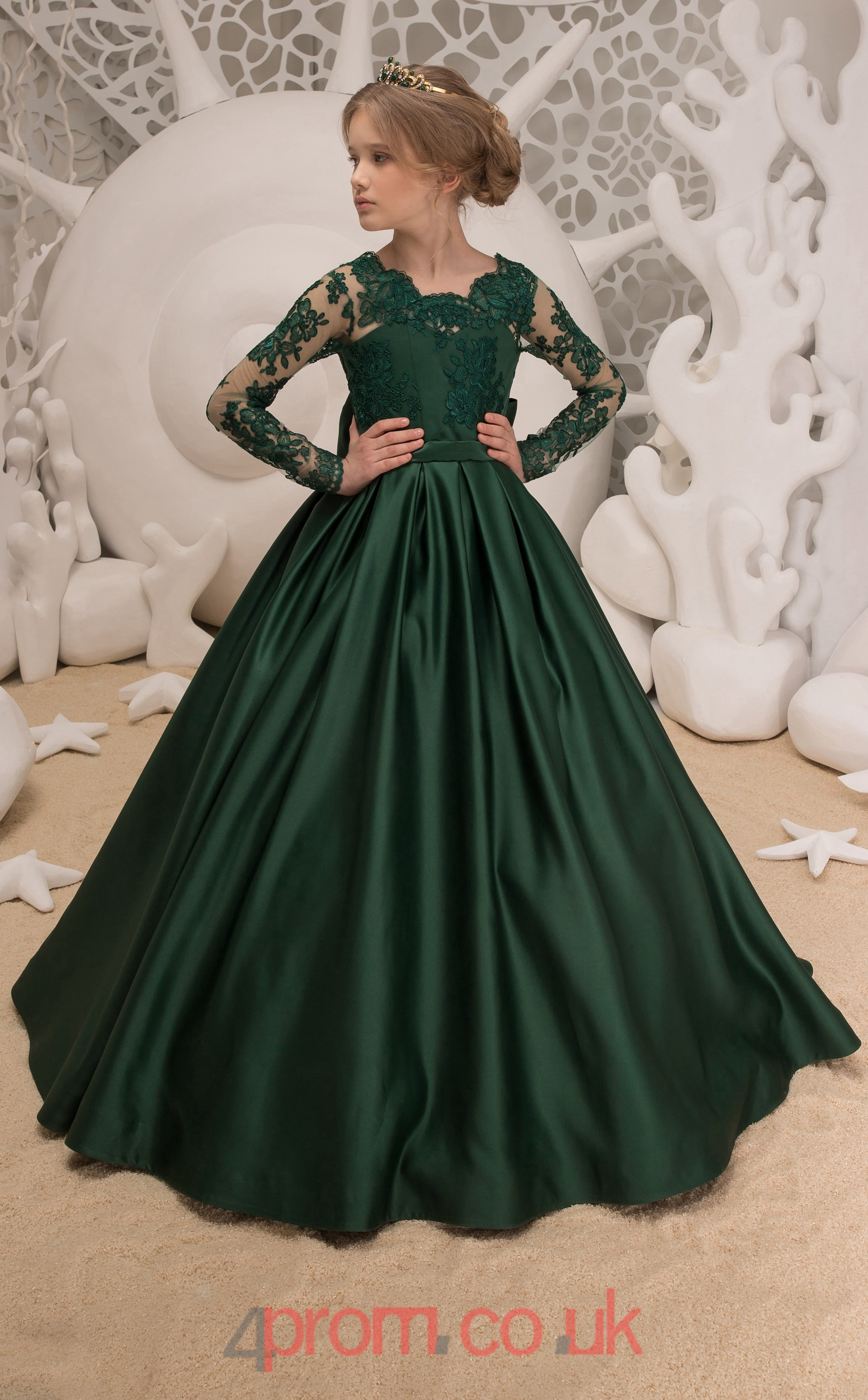 74c95cc7875 Jewel Long Sleeve Dark Green Kids Prom Dresses CHK040 - 4prom.co.uk