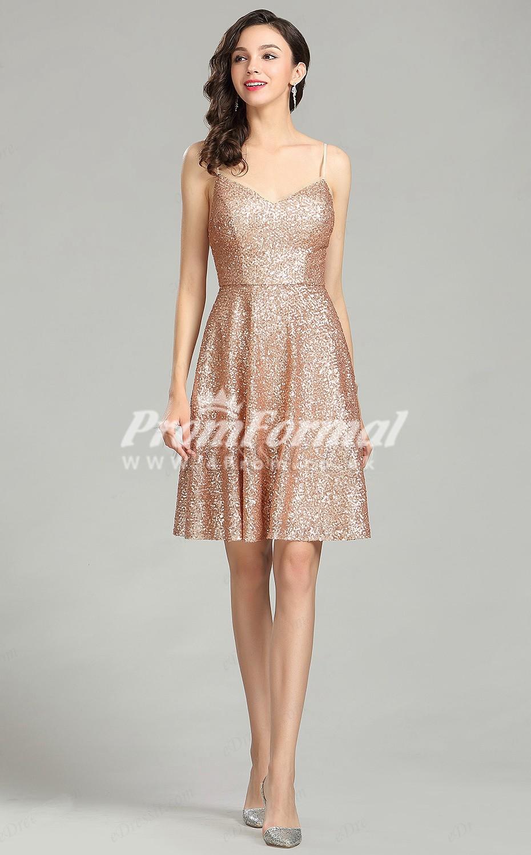 Ebd004 Sequin Straps Short Mini Rose Gold Bridesmaid Dresses