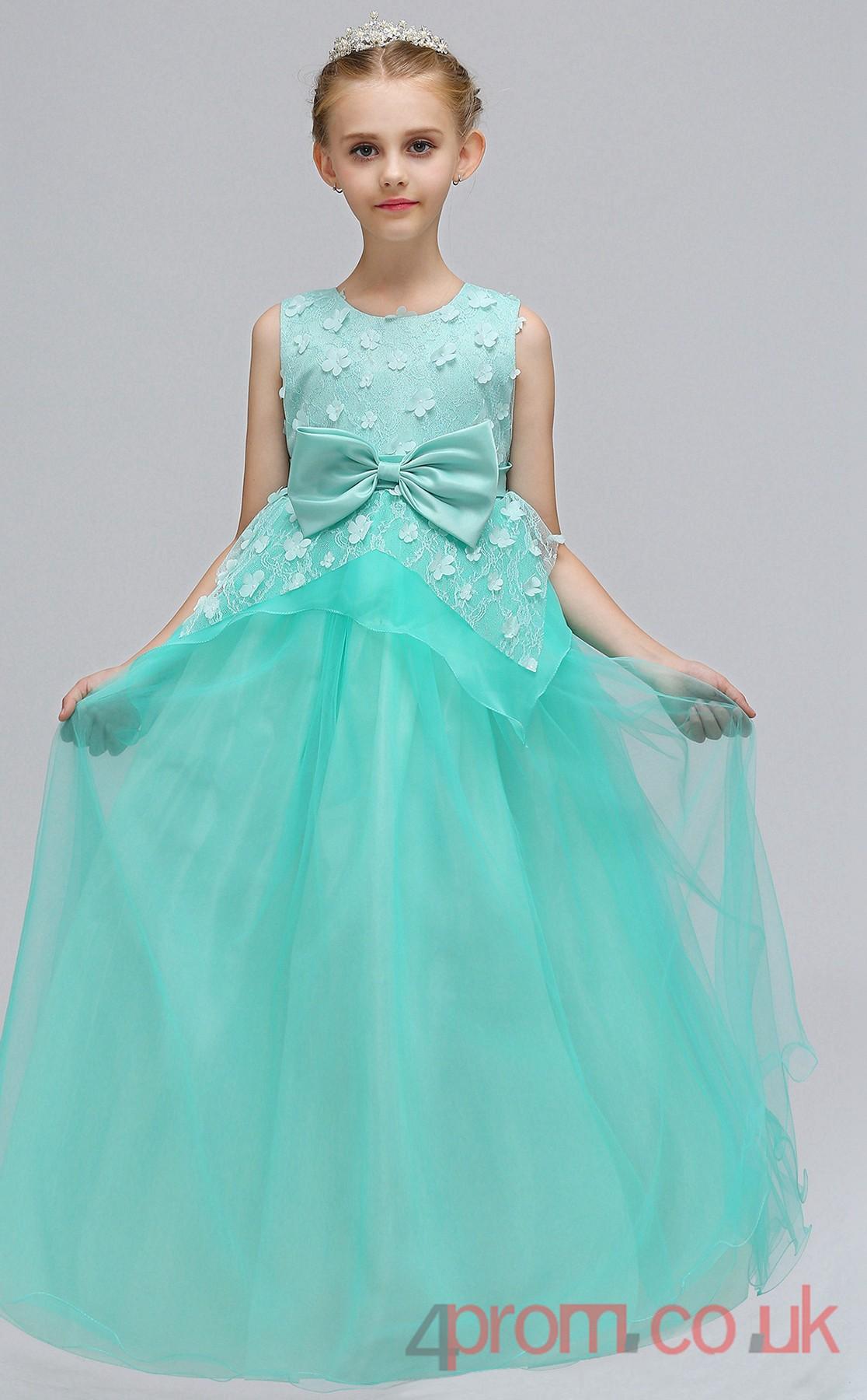 Lilac Organza Princess Jewel Tea Length Children S Prom