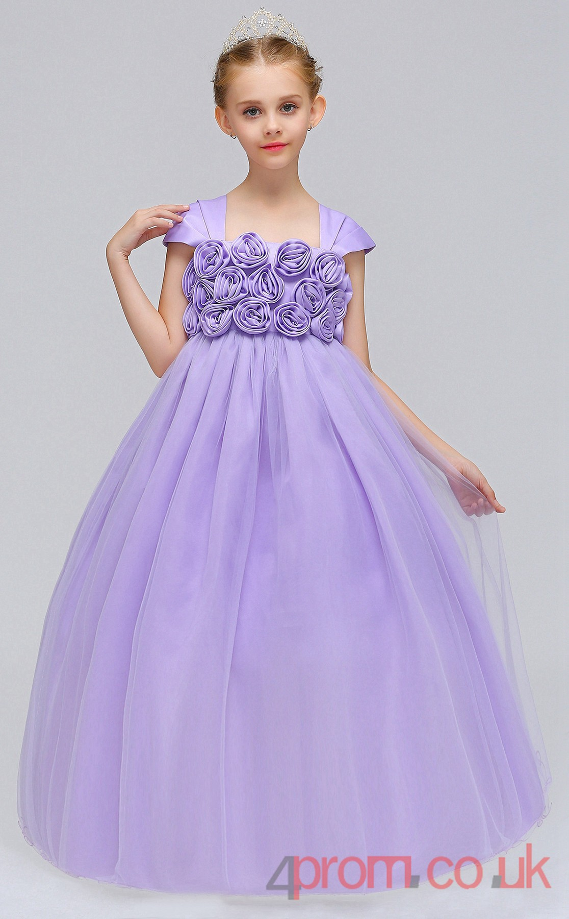 Burgundy Organza Princess Square Ankle-length Children\'s Prom Dress ...