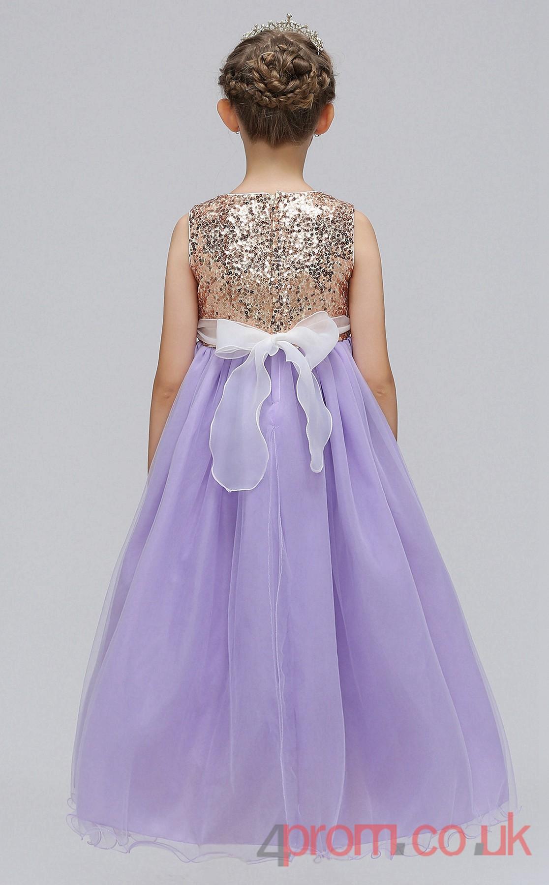 Light Blue Sequinsed Tulle Princess Jewel Floor Length