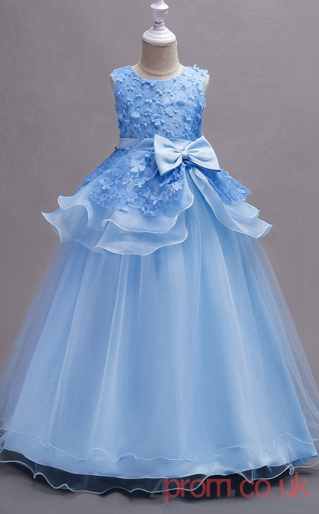 Powder Blue Lace Organza Ball Gown Jewel Floor Length