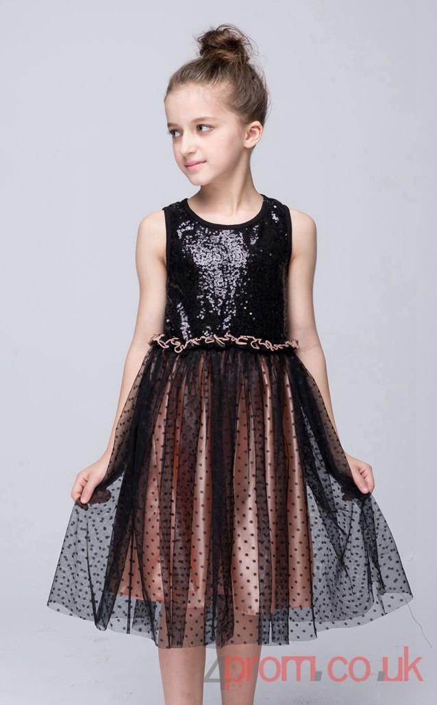 Black Sequinsed Lace Princess Jewel Knee Length Children S
