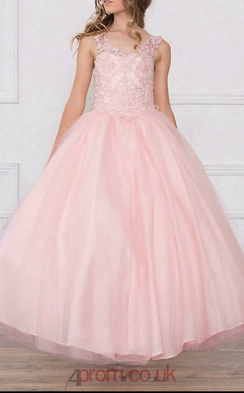 Pearl Pink Tulle Lace Scoop Sleeveless Ankle-length Ball Gown ...